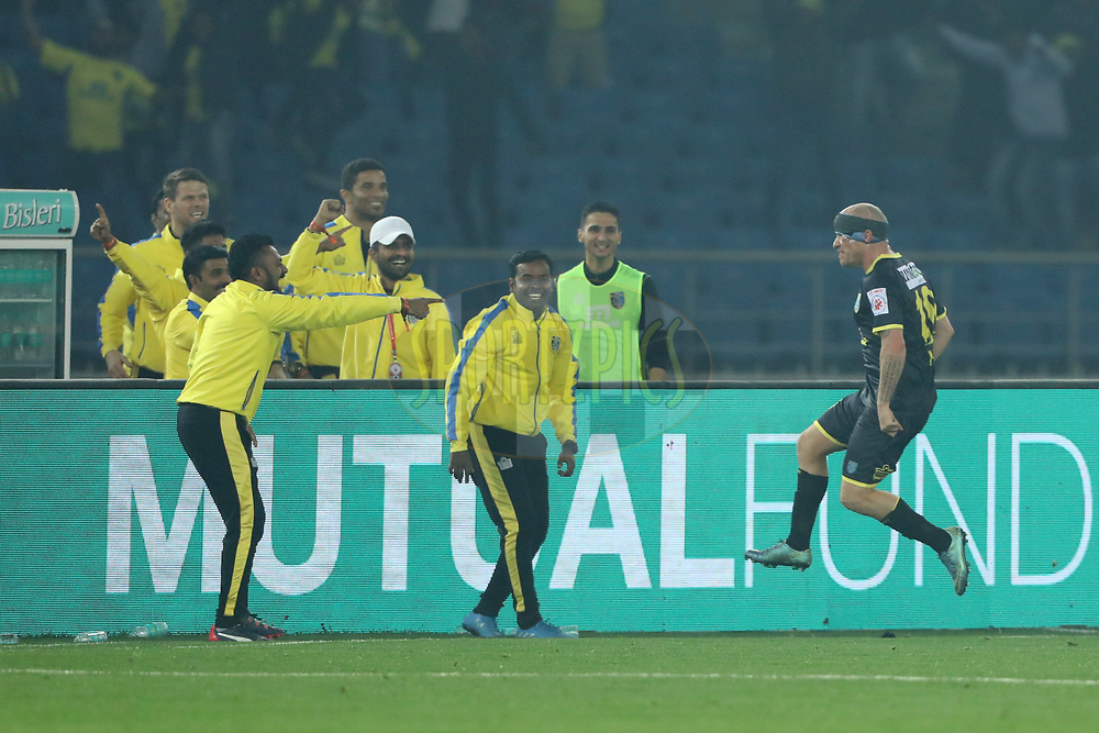 Iain Hume of Kerala Blasters FC  celebrate his goal during match 43 of the Hero Indian Super League between Delhi Dynamos FC and Kerala Blasters FC  held at the Jawaharlal Nehru Stadium, Delhi, India on the 10th January 2018<br /> <br /> Photo by: Arjun Singh  / ISL / SPORTZPICS