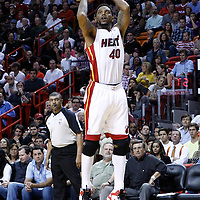 24 January 2012: Miami Heat power forward Udonis Haslem (40) takes a jumpshot during the Miami Heat 92-85 victory over the Cleveland Cavaliers at the AmericanAirlines Arena, Miami, Florida, USA.