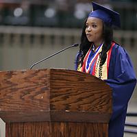 Nettleton High School Salutatorian J'mya Wells songrautlates her classmates on reaching gradution day.