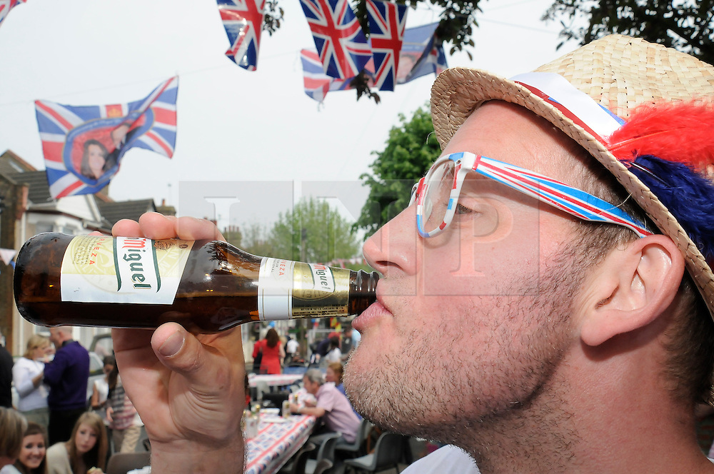 Sidcup, UK  29/04/2011. The Royal Wedding of HRH Prince William to Kate Middleton..Street party Cambridge Road,Sidcup,South East London, celebrating the Royal Wedding..Too much drink! Gary Nott ( local).Photo credit should read Grant Falvey/LNP. Please see special instructions. © under license to London News Pictures