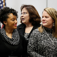 Thomas Wells | BUY AT PHOTOS.DJOURNAL.COM<br /> Tupelo Middle School teacher Tina Fitts, center, reacts as her name announced as the Tupelo Public School District Teacher of the year on Tuesday.