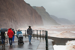 © Licensed to London News Pictures. 27/01/2016. Sidmouth, UK.  Visitors walk on the seafront at Sidmouth as the tail end of storm Jonas hits the UK. Photo credit: Peter Macdiarmid/LNP