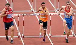 08-03-2015 CZE: European Athletics Indoor Championships, Prague<br /> Adam Helgelet CZE, Eelco Sintnicolaas NED, Artem Luykanenko RUS