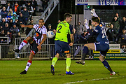 Maidenhead United midfielder Harold Odametey shoots towards the goal during the Vanarama National League match between Maidenhead United and Havant & Waterlooville FC at York Road, Maidenhead, United Kingdom on 26 March 2019.