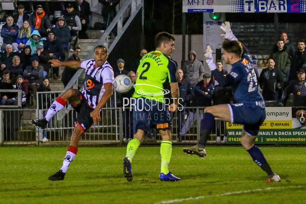 Maidenhead United midfielder Harold Odametey shoots towards the goal during the Vanarama National League match between Maidenhead United and Havant & Waterlooville FC at York Road, Maidenhead, United Kingdom on 26 March 2019.