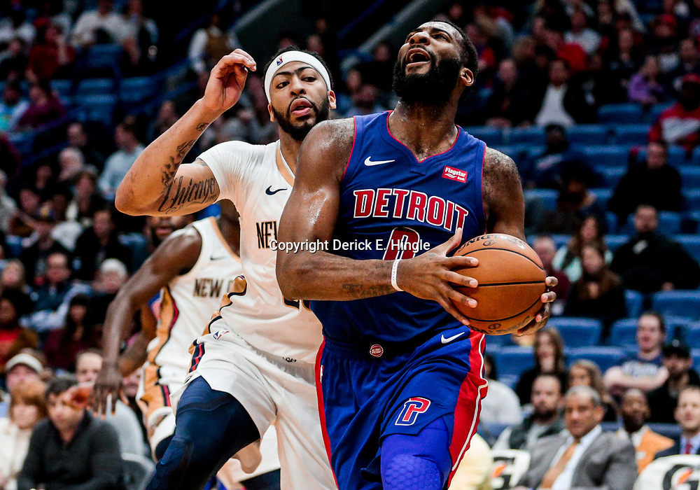 Jan 8, 2018; New Orleans, LA, USA; Detroit Pistons center Andre Drummond (0) drives past New Orleans Pelicans forward Anthony Davis (23) during the first quarter at the Smoothie King Center. Mandatory Credit: Derick E. Hingle-USA TODAY Sports