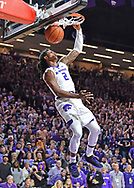 MANHATTAN, KS - FEBRUARY 05:  Cartier Diarra #2 of the Kansas State Wildcats drives to the basket for a dunk against the Kansas Jayhawks during the second half on February 5, 2019 at Bramlage Coliseum in Manhattan, Kansas.  (Photo by Peter G. Aiken/Getty Images) *** Local Caption ***Cartier Diarra