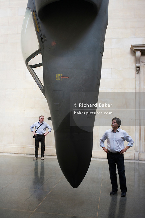 Artist Fiona Banner's fighter jet art work 'Harrier and Jaguar' exhibited in south and north Duveens galleries at Tate Britain.