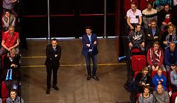 17-04-2016 NED: Play off finale Abiant Lycurgus - Seesing Personeel Orion, Groningen<br /> Abiant Lycurgus is door het oog van de naald gekropen tijdens het eerste finaleduel om het landskampioenschap. De Groningers keken in een volgepakt MartiniPlaza tegen een 0-2 achterstand aan tegen Seesing Personeel Orion, maar mede dankzij invaller Gino Naarden kwam Lycurgus langszij en pakte het de wedstrijd met 3-2 / Erwin, support publiek