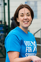 Pictured: <br /> <br /> Scottish Labour leader, Kezia Dugdale visited Spartans Community Football Academy' 'Little Miss Kickers' programme - and met some of the players involved in a programme designed to encourage the social and sporting development of girls aged 5-8, supported by Scottish FA qualified coaches.<br /> <br /> Ger Harley | EEm 15 April 2016