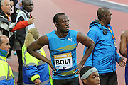 Usain Bolt of Jamaica after the 100m heat during the Sainsbury's Anniversary Games at the Queen Elizabeth II Olympic Park, London, United Kingdom on 24 July 2015. Photo by Ellie Hoad.