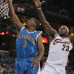 01 November 2008: New Orleans Hornets guard Chris Paul (3) shoots past Cleveland Cavaliers forward LeBron James (23) during a 104-92 win by the New Orleans Hornets over the Cleveland Cavaliers at the New Orleans Arena in New Orleans, LA..