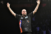 Raymond van Barneveld beats Michael van Gerwen during the Betway Premier League Darts at the Manchester Arena, Manchester, United Kingdom on 23 March 2017. Photo by Mark Pollitt.