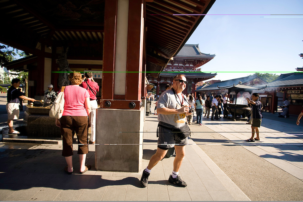 European and American tourist visiting, japan here they are touring, the  Sensoji Temple, Asakusa ward of Tokyo
