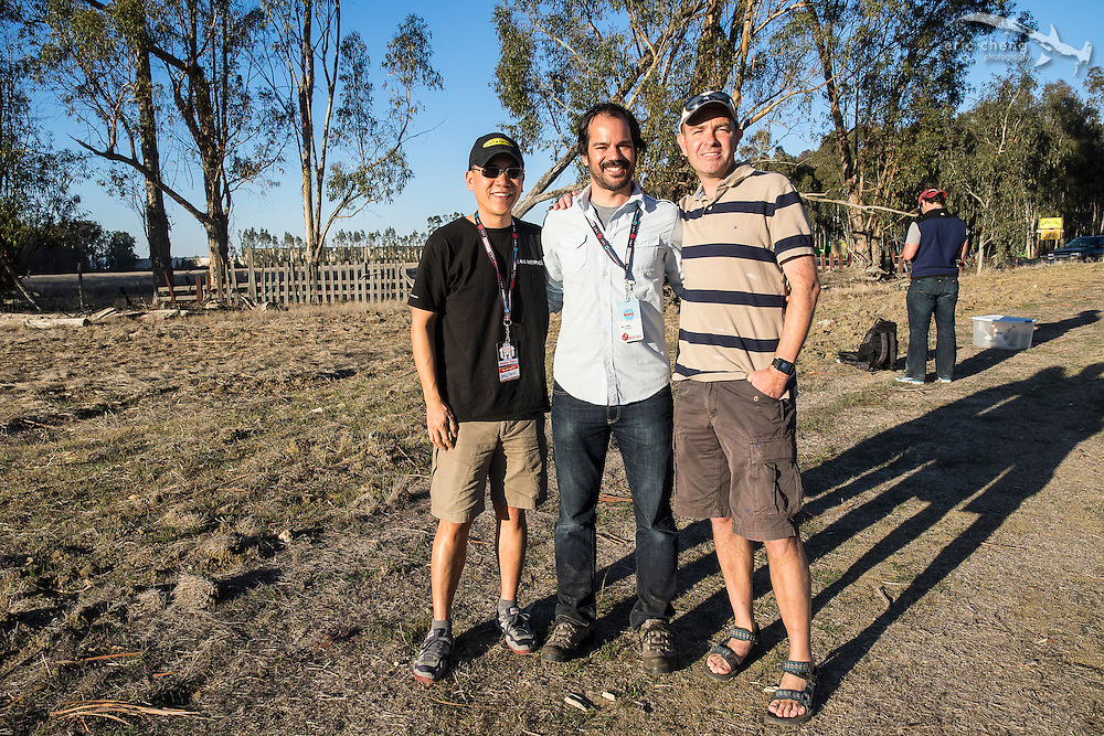 Eric Cheng, Mike Senese and Chris Anderson. Make Magazine drone fly-in, January 20, 2014