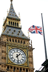 © Licensed to London News Pictures. 23/05/2017. London, UK. Union flag is half mast over the Houses of Parliament, London on Tuesday 23 May 2017 following a terrorist attack that killed 22 and injured 59 people amongst children at Manchester Arena. Photo credit: Tolga Akmen/LNP
