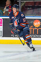 KELOWNA, BC - FEBRUARY 23: Kyrell Sopotyk #12 of the Kamloops Blazers warms up on the ice against the Kelowna Rockets at Prospera Place on February 23, 2019 in Kelowna, Canada. (Photo by Marissa Baecker/Getty Images)