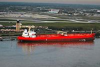 Aerial view of Crude Oil Tanker at Philadelphia Terminal
