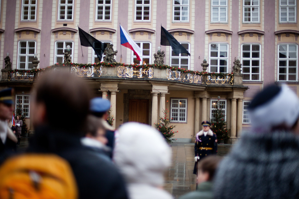 About 10000 Czech citizens accompanied the remains of Vaclav Havel from the Old Town part in Prague across Charles Bridge   up to Prague Castle, the seat of Czech presidents. Black flags at Prague Castle during the mourning ceremony for former President Vaclav Havel at Prague Castle.