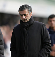 Photo: Lee Earle.<br /> Birmingham City v Chelsea. The Barclays Premiership. 01/04/2006. Chelsea manager Jose Mourinho looks glum as he walks off at the end.