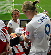 AUGSBURG, Germany, 05.07.2011 -<br /> FIFA WOMEN's WORLD CUP 2011 Group B Match ENGLAND vs JAPAN - 2:0 - Goal by Englands player Ellen WHITE 1:0 who later celebrated with the public in the stadium -<br />  British Womens Football team dominated the Match vs Japan and wins 2:0 -<br /> Womens Football, Soccer - Fussball, Fußball - <br />  fee liable image, Foto: © ATP  Arthur THILL