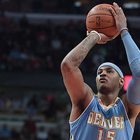 08 November 2010: Denver Nuggets' small forward #15 Carmelo Anthony is seen at the free throw line during the Chicago Bulls 94-92 victory over the Denver Nuggets at the United Center, in Chicago, Illinois, USA.