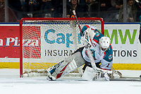 KELOWNA, CANADA - MARCH 13: James Porter #1 of the Kelowna Rockets makes a save against the Spokane Chiefs on March 13, 2019 at Prospera Place in Kelowna, British Columbia, Canada.  (Photo by Marissa Baecker/Shoot the Breeze)