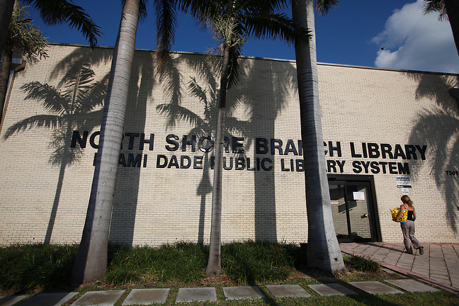 4/1/13---Miami Beach, Florida---Photo by Angel Valentin<br /> North Shore Library in Miami Beach, on Collins and 75   Street.