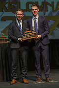 KELOWNA, CANADA - MARCH 19:  Top Scorer Award presented to Kole Lind by Patrick Bobyn at the Kelowna Rockets Awards Ceremony on March 19, 2017 at the Kelowna Community Theater in Kelowna, British Columbia, Canada.  (Photo By Cindy Rogers/Nyasa Photography,  *** Local Caption ***