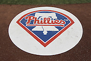 LOS ANGELES, CA - JULY 18:  The Philadelphia Phillies team logo appears on the on deck circle before the game against the Los Angeles Dodgers on Wednesday, July 18, 2012 at Dodger Stadium in Los Angeles, California. The Dodgers won the game 5-3 in 12 innings. (Photo by Paul Spinelli/MLB Photos via Getty Images)