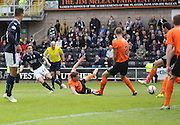 Dundee's Stephen McGinn fires in a shot which was saved by Dundee United's Radoslaw Cierzniak - Dundee United v Dundee at Tannadice Park in the SPFL Premiership<br /> <br />  - © David Young - www.davidyoungphoto.co.uk - email: davidyoungphoto@gmail.com