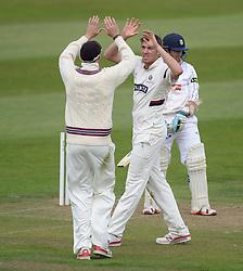 Somerset's Craig Overton celebrates bowling out Hampshire's Liam Dawson - Mandatory byline: Alex James/JMP - 07966386802 - 09/09/2015 - FOOTBALL -  - The County Ground - Taunton  - Somerset v Hampshire - LV CC -