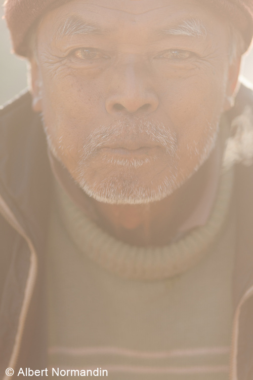 Man with grey highlights stares directly into camera, sunlight