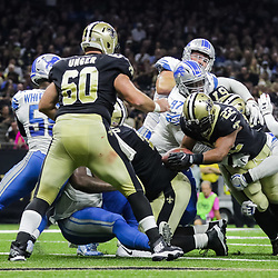Oct 15, 2017; New Orleans, LA, USA; New Orleans Saints running back Mark Ingram (22) runs for a touchdown against the Detroit Lions during the first half of a game at the Mercedes-Benz Superdome. Mandatory Credit: Derick E. Hingle-USA TODAY Sports