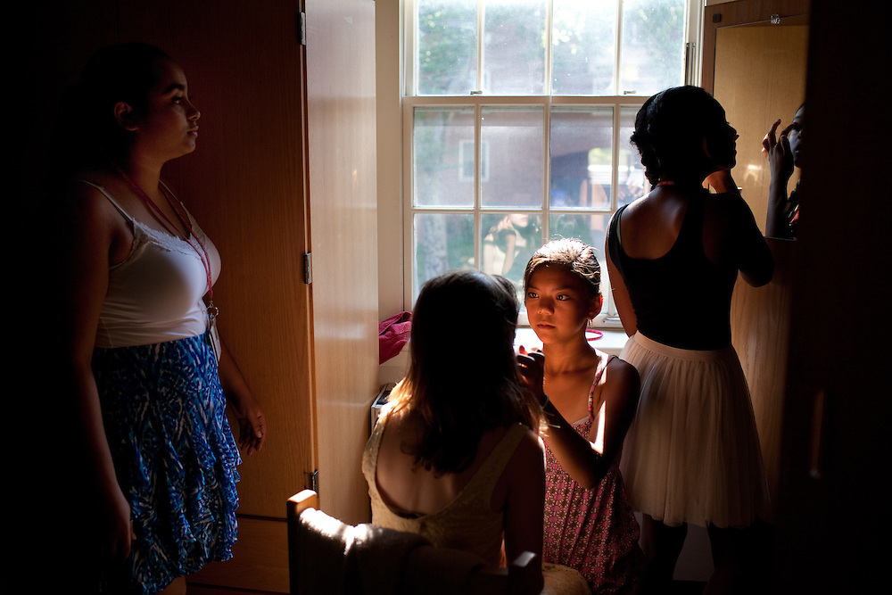 From left: Mariette Sargios, Abigail Melton, 15, Lily Chu, 13, and Jayna Viswalingam, 14, put on make-up in preparation for the evening's Masquerade Ball at the Center for Talented Youth summer program at Lafayette College in Easton, PA on July 06, 2012. Several students were part of the Rural Connections scholarship program being offered for the first time this year.
