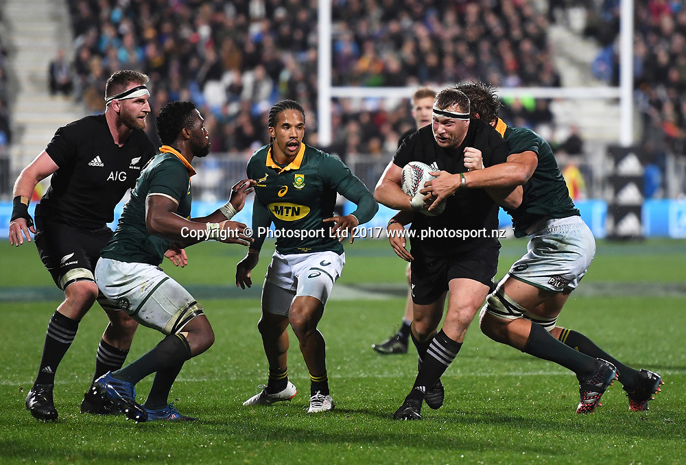 Wyatt Crockett.<br /> Rugby Championship test match rugby union. New Zealand All Blacks v South Africa Springboks, QBE Stadium, Auckland, New Zealand. Saturday 16 September 2017. &copy; Copyright photo: Andrew Cornaga / www.Photosport.nz