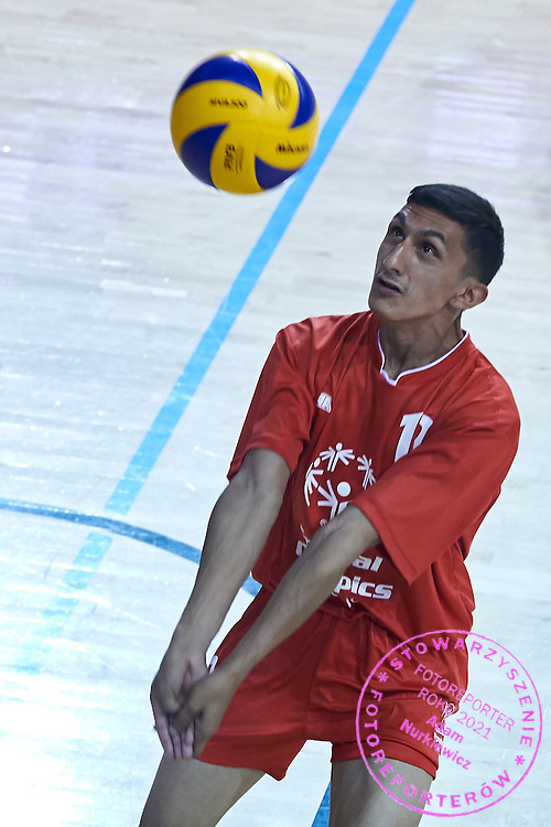 SO Serbia athlete in action while Unified Volleyball match between SO Serbia and SO USA Germany during sixth day of the Special Olympics World Games Los Angeles 2015 on July 30, 2015 at Pauley Pavilion at UCLA (University of California Los Angeles) in Los Angeles, USA.<br /> <br /> USA, Los Angeles, July 30, 2015<br /> <br /> Picture also available in RAW (NEF) or TIFF format on special request.<br /> <br /> For editorial use only. Any commercial or promotional use requires permission.<br /> <br /> Adam Nurkiewicz declares that he has no rights to the image of people at the photographs of his authorship.<br /> <br /> Mandatory credit:<br /> Photo by &copy; Adam Nurkiewicz / Mediasport