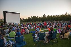 United States, Washington, Bellevue, outdoor movie at Bellevue Downtown Park
