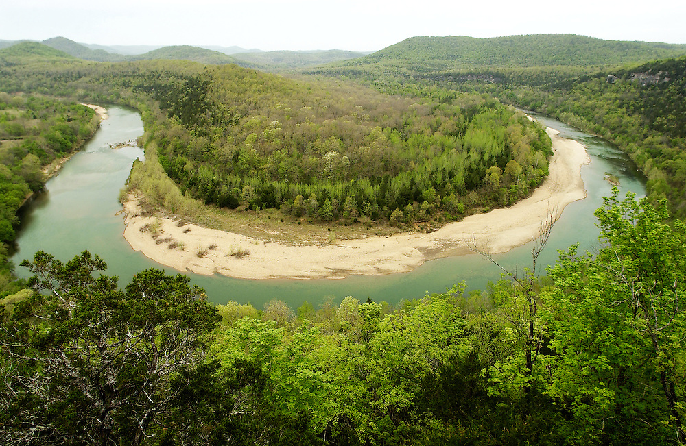 Bearclaw bend and spring, Buffalo National River, Arkansas..This is the final bend before the Buffalo River joins the White River..