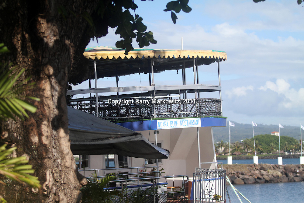 The Moana Blue Restaurant appears very inviting on the water at the Matautu Marina, Apia, Samoa,  5/25/11, Photo by Barry Markowitz