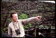 Tom Lovejoy points across clearcut;World Wildlife studies Amazon remnants to gauge damage; Manaus Brazil