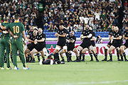 New Zealand Haka during the Japan 2019 Rugby World Cup Pool B match between New Zealand and South Africa at the International Stadium Yokohama in Yokohama on September 21, 2019. Photo Kishimoto / ProSportsImages / DPPI
