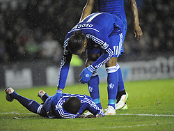 Chelsea Didier Drogba confronts team mate Kurt Zouma after his punch from Derby Richard Keogh, Derby County v Chelsea, Capital One Cup Quarter Final, Score Derby 1(Bryson),  Chelsea 3 (Hazard, Luis, Schurrle) Pride Park Tuesday 16th December 2014