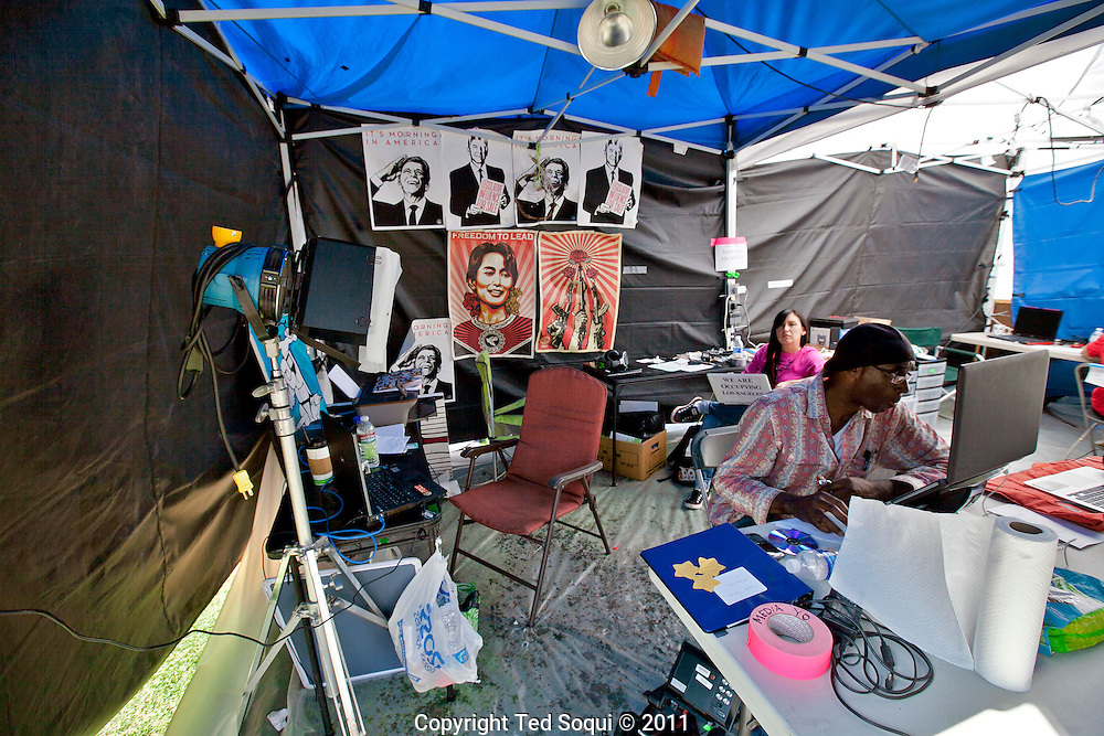 Day 17 at Occupy L.A. around L.A. city Hall.<br /> Inside the media tent where people blog and send videos from.