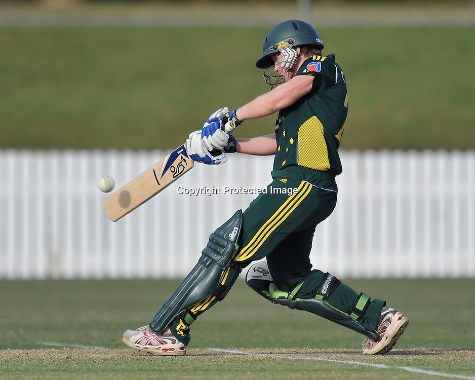 Jessica Cameron watches the ball onto the bat during action in Game 6 (ODI) of the Rose Bowl Trophy Cricket played between Australia and New Zealand at Alan Border Field in Brisbane (Australia) ~ Monday 14May 2011 ~ Photo : Steven Hight (AURA Images) / Photosport