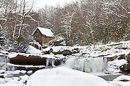 67395-04220 Glade Creek Grist Mill in winter, Babcock State Park, WV