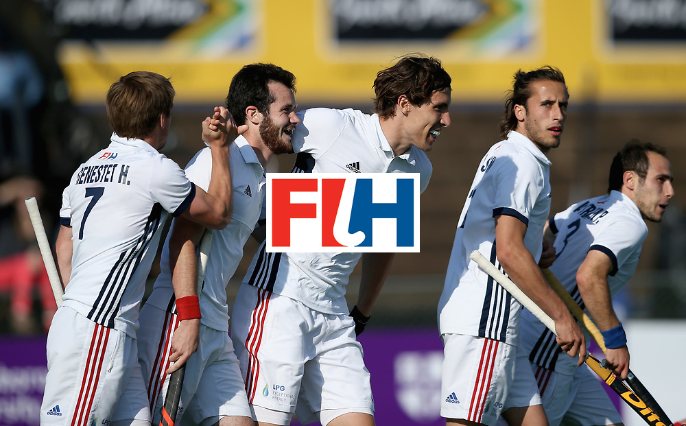 JOHANNESBURG, SOUTH AFRICA - JULY 13: Francois Goyet of France celebrates scoring their teams third goal with teammates during day 3 of the FIH Hockey World League Semi Finals Pool A match between Japan and France at Wits University on July 13, 2017 in Johannesburg, South Africa. (Photo by Jan Kruger/Getty Images for FIH)