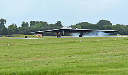 April 11, 2018 - RAF Fairford, U.K. - A B-2 Spirit deployed from Whiteman Air Force Base, Mo., lands on the flightline at RAF Fairford, U.K., June 9, 2017. The B-2 regularly conducts strategic bomber missions that demonstrate the credibility of the bomber forces to address a global security environment. (Credit Image: ? U.S. Air Force /DOD via ZUMA Wire/ZUMAPRESS.com)