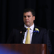 Alexis I. duPont High School Principal Kevin M. Palladinetti addresses students and family during duPont High School commencement exercise Saturday, June 06, 2015, at The Bob Carpenter Sports Convocation Center in Newark, Delaware.
