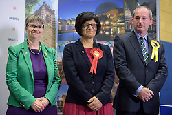 © Licensed to London News Pictures.  09/06/2017; Bristol, UK. General Election 2017; THANGAM DEBBONAIRE is returned in Bristol West for Labour at City of Bristol Academy with what may be the largest majority in the UK of 37, 366, beating challengers MOLLY SCOTT CATO for the Greens and STEPHEN WILLIAMS for the Lib Dems. Picture credit : Simon Chapman/LNP